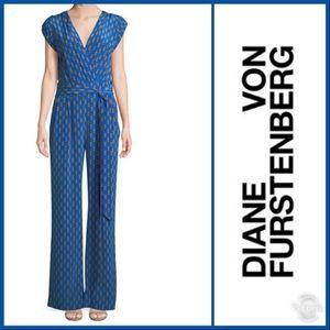 DVF Purdy Silk Wrap Jumpsuit Blue/Gold Size 10 NWT